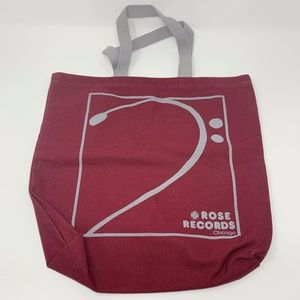 Rose Records Chicago Record Store Tote Bag Maroon